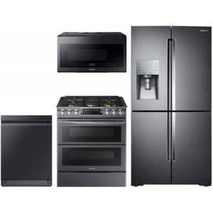 """Samsung 4 Piece Kitchen Appliances Package with RF28K9380SG 36"""" French Door Refrigerator  NX58K9850SG 30"""" Gas Range  ME21M706BAG 30"""" Over The Range Microwave"""
