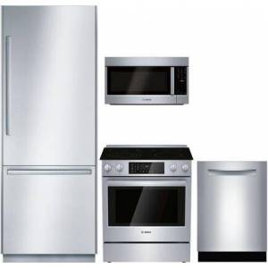 """Bosch 4 Piece Kitchen Appliances Package with B36BT930NS 36"""" Smart French Door Refrigerator  HEIP056U 30"""" Slide-in Electric Range  SHP88PZ55N 24"""" Fully"""