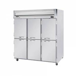 """Beverage-Air HF3-5HS 78"""" Horizon Series Three Section Solid Half Door Reach-In Freezer  74 cu.ft. capacity  Stainless Steel Front  Gray Painted Sides  Aluminum"""