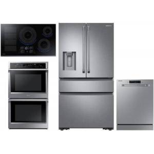 """Samsung 4 Piece Kitchen Appliance Package with RF23M8090SR 36"""" 4 Door French Door Refrigerator  NV51K6650DS 30"""" Electric Double Wall Steam Oven  NZ36K7880US"""