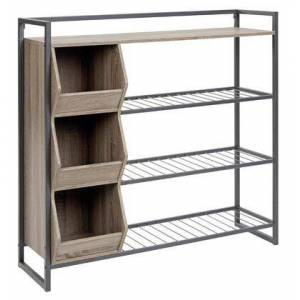 """Ashley Maccenet Collection Z1510473 43.25"""" Shoe Rack with Three Cubbies  Made of Engineered Wood and Metal in"""