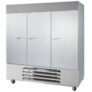 """Beverage-Air FB72-1S 75"""" Vista Series Three Section Solid Door Reach-In Freezer  72 cu.ft. Capacity  Stainless Steel Front  Robust Gray Painted Exterior Sides"""