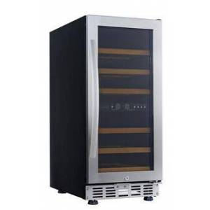 """USF33D 15"""" Stainless Steel Dual Temperature Zone Wine Cabinet Up to 26 Bottles Capacity  LED Lights and 6 Beech"""