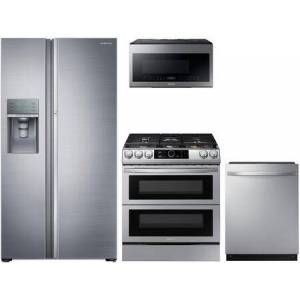"""Samsung 4-Piece Kitchen Appliances Package with RF22N9781SR 36"""" French Door Refrigerator  NX60T8751SS 30"""" Smart Slide-in Gas Range  DW80R7061US 24"""" Fully"""