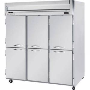 """Beverage-Air HFS3-5HS 78"""" Horizon Series Three Section Solid Half Door Reach-In Freezer  74 cu.ft. Capacity  Stainless Steel Front  Gray Painted Sides and"""