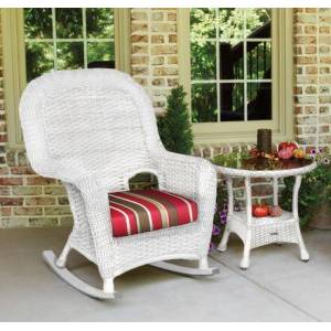 Tortuga Sea Pines Collection LEX-RT1-W-MONS Rocker and Table Bundle in White Wicker and Monserrat Sangria Fabric