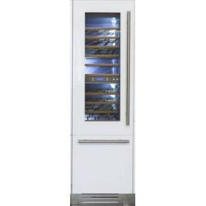 """Fhiaba FI24BWR-LGO 24"""" Integrated Series Built-in Wine Cellar with 54 Bottle Capacity  3 cu. ft. Freezer Capacity  Riserva  TriMode  9 Wooden Shelves and"""