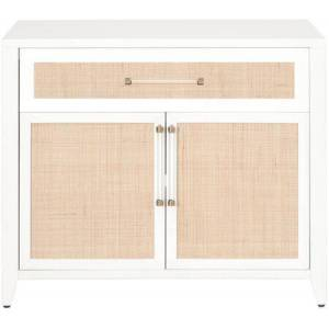 Essentials for Living Traditions Collection 6146.WHT/NAT Holland Chest with Natural Rattan Front Inlay in Matte White  Natural  Brushed Brass