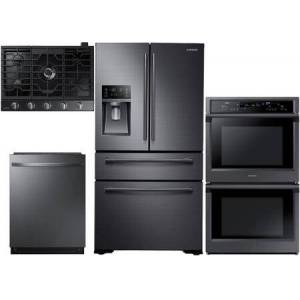 """Samsung 4 Piece Kitchen Appliance Package with RF30KMEDBSG 36"""" French Door Refrigerator NV51K6650DG 30"""" Smart Double Wall Steam Oven  NA30N7755TG 30"""" Gas"""