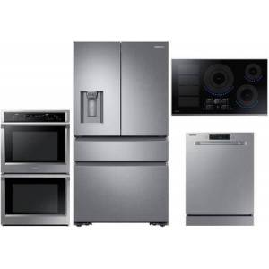 """Samsung 4 Piece Kitchen Appliance Package with RF23M8070SR 36"""" 4 Door French Door Refrigerator  NV51K6650DS 30"""" Electric Double Wall Steam Oven  NZ36K7880US"""