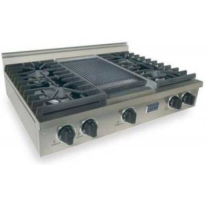 """FiveStar TPN-037-7 36"""" Sealed Burner Pro-Style LP Gas Rangetop With 4 Sealed Ultra High-Low Burners  Double Sided Grill/Griddle  Electronic Ignition  120"""