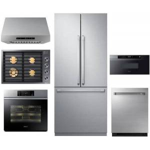 """Dacor 6 Piece Kitchen Appliances Package with 36"""" French Door Refrigerator  30"""" Gas Cooktop  30"""" Hood  30"""" Single Wall Steam Oven  30"""" Drawer Microwave and"""