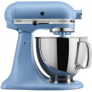KitchenAid KSM150PSVB Artisan Tilt-Head Stand Mixer 5 Quarts Stainless Steel  Bowl  10 Speeds  Pouring Shield  Coated Cough Hook  Flat Beater  in Blue