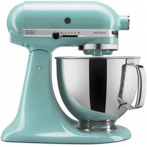 KitchenAid KSM150PSAQ Artisan Tilt-Head Stand Mixer 5 Quarts Stainless Steel  Bowl  10 Speeds  Pouring Shield  Coated Cough Hook  Flat Beater  in Aqua