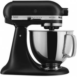 KitchenAid KSM150PSBM Artisan Tilt-Head Stand Mixer 5 Quarts Stainless Steel  Bowl  10 Speeds  Pouring Shield  Coated Cough Hook  Flat Beater  in Black