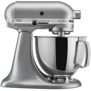 KitchenAid KSM150PSSM Artisan Tilt-Head Stand Mixer 5 Quarts Stainless Steel  Bowl  10 Speeds  Pouring Shield  Coated Cough Hook  Flat Beater  in Silver