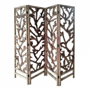 Benzara BM220199 4 Panel Wooden Screen with Mulberry Alpine Like Branches Design