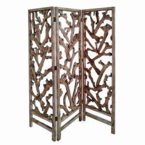 Benzara BM220198 3 Panel Wooden Screen with Mulberry Alpine Like Branches Design