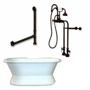"""Cambridge DES-PED-398684-PKG-ORB-NH Cast Iron Double Ended Slipper Tub 71"""" x 30"""" with no Faucet Drillings and Complete Oil Rubbed Bronze Free Standing English"""