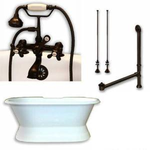 """Cambridge DES-PED-463D-2-PKG-ORB-7DH Cast Iron Double Ended Slipper Tub 71"""" x 30"""" with 7"""" Deck Mount Faucet Drillings and Complete Oil Rubbed Bronze Plumbing"""