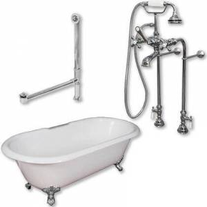 "Cambridge DE60-398463-PKG-CP-NH Cast Iron Double Ended Clawfoot Tub 60"" x 30"" with No Faucet Drillings and Complete Free Standing British Telephone Faucet and"