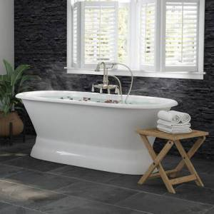 """Cambridge DE66-PED-398684-PKG-BN-NH 66"""" Cast Iron Dual Ended Pedestal Bathtub With No Faucet Drillings And Complete Plumbing Packge In Brushed"""