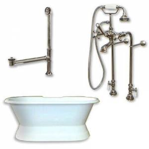 """Cambridge DES-PED-398463-PKG-BN-NH Cast Iron Double Ended Slipper Tub 71"""" x 30"""" with No Faucet Drillings and Complete Free Standing British Telephone Faucet"""