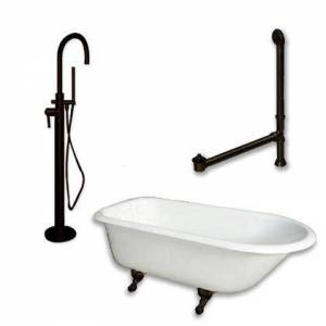 """Cambridge RR61-150-PKG-ORB-NH Cast Iron Rolled Rim Clawfoot Tub 61"""" x 30"""" with no Faucet Drillings and Complete Oil Rubbed Bronze Modern Freestanding Tub"""