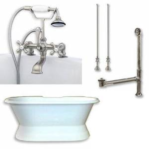 """Cambridge DES-PED-463D-2-PKG-BN-7DH Cast Iron Double Ended Slipper Tub 71"""" x 30"""" with 7"""" Deck Mount Faucet Drillings and Complete Brushed Nickel Plumbing"""