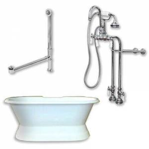 """Cambridge DES-PED-398684-PKG-CP-NH Cast Iron Double Ended Slipper Tub 71"""" x 30"""" with no Faucet Drillings and Complete Polished Chrome Free Standing English"""