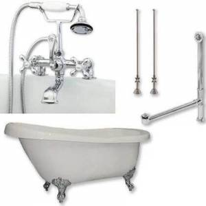 """Cambridge AST61-463D-2-PKG-CP-7DH Acrylic Slipper Bathtub 61"""" x 30"""" with 7"""" Deck Mount Faucet Drillings and Complete Polished Chrome Plumbing"""