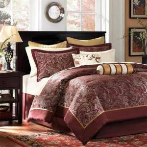 Madison Park Aubrey Collection MP10-319 Queen Size 12 Piece Complete Bed Set with Traditional Life Style  Paisley Motif Pattern and 200 Thread Count in