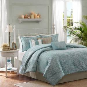 Madison Park Carmel Collection MP10-1410 King Size 7 Piece Comforter Set with Coastal Life Style  Three Decorative Pillows and 100% Polyester Jacquard Fabric in