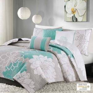 Madison Park Lola Collection MP13-2644 Full and Queen Size 6 Piece Reversible Cotton Printed Coverlet Set with Large Floral Print  Oeko-Tex Certified and