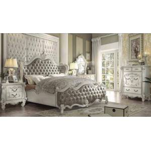 Acme Furniture Versailles Collection 21150QSET 6 PC Bedroom Set with Queen Size Bed + Dresser + Mirror + Chest + 2 Nightstands in Bone White