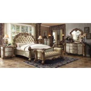 Acme Furniture Vendome Collection 23000QDMC2NB 7 PC Bedroom Set with Queen Size Bed + Dresser + Mirror + Chest + 2 Nightstands + Bench in Gold Patina