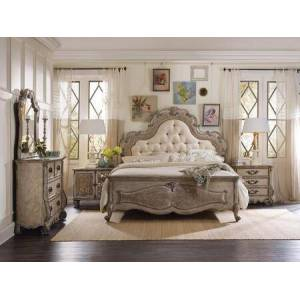 Hooker Furniture 5450-QUBMC3DNS2DCM 5-Piece Chatelet Collection Bedroom Set with Queen Size Upholstered Bed + Media Chest + 3 Drawer Chest + 2 Door Chest + Mirror  in