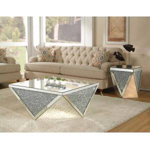 """Acme Furniture Noralie Collection 82770SET 2 PC Living Room Set with 38"""" Coffee Table and 19"""" End Table in Mirrored"""