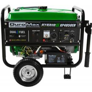 DuroMax XP4850EH 4850 Watt Dual Fuel Hybrid Generator with Electric Start  7 HP Engine  Low Oil Protection  AC and DC Regulator  Spark Arrestor  in
