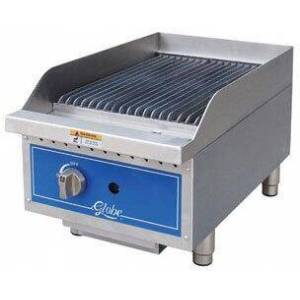 """Globe GCB15G-CR 15"""" Countertop Cast Iron Radiant Heat Charbroiler with up to 40 000 BTUs  U-Style Burners  and Liquid Propane Conversion Kit in Stainless"""