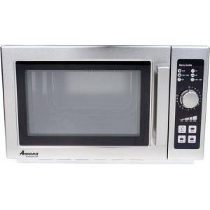 """Amana RCS10DSE 22"""" Commercial Medium Volume Counter Top Microwave with 1.2 cu. ft. Capacity  120 Volts  and Stainless Steel Construction  in Stainless"""