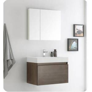 """Fresca Mezzo Collection FVN8007GO 30"""" Wall Hung Modern Bathroom Vanity with Medicine Cabinet  Blum TANDEM Plus BLUMOTION Drawer System and Integrated"""