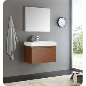 """Fresca Mezzo Collection FVN8007TK 30"""" Wall Hung Modern Bathroom Vanity with Medicine Cabinet  Blum TANDEM Plus BLUMOTION Drawer System and Integrated"""