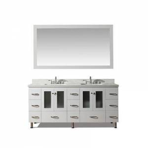 """Ariel Americano Collection B073D-WQ-WHT  73"""" Double Sink Vanity Set With White Quartz Top In"""
