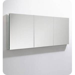 """Fresca FMC8020 59"""" x 36"""" Medicine Cabinet with Frameless Design  Three Mirrored Doors and Eight Adjustable Glass"""