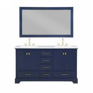 Stufurhome Brittany Collection HE-7131B-60-CR 60-Inch Double Sink Bathroom Vanity with Mirror in Dark Blue