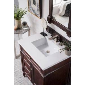 """James Martin Brittany Collection 650-V30-BNM-3CLW 30"""" Single Vanity  Burnished Mahogany  with 3 CM Classic White Quartz Top with"""