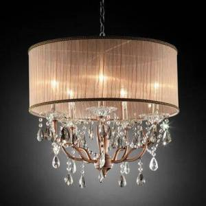 """Furniture of America Cecelia L95126H Ceiling Lamp with Crystal lamp with antler design  Contemporary Style  Shade size: 22"""" x 22"""" x 9""""  Chain length: 48"""" in"""