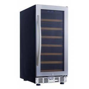"""Eurodib USF33S 15"""" Stainless Steel Single Temperature Zone Wine Cabinet Up to 31 Bottles Capacity  LED Lighting and 7 Beech"""