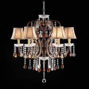 """Furniture of America Juliet L95113H Ceiling Lamp with Crystal Lamp  Made of Metal Resin and Tea Crystal  Shade Size: 6"""" x 6"""" x 5""""  Max Watt: 40W each in Golden"""